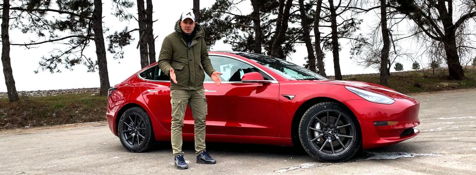 Tesla Model 3 Long Range în condiții de iarnă